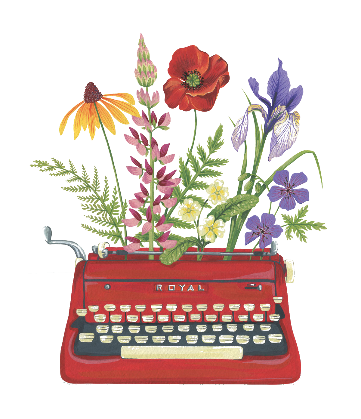 Type writer with flowers